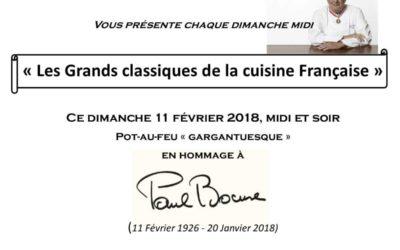 Hommage à Monsieur Paul Bocuse ce Dimanche 11 Février 2017